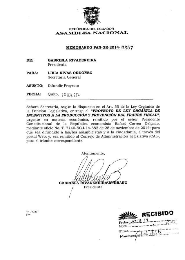 DE:  PARA:  REPOBLICA DEL ECUADOR  AS$ATVf BI-EA 1{A()I O IIAI-MEMORANpO  PAN-GR-2O14- 0 35 ?  GABRIELA RIVADENEIRA  Presi...