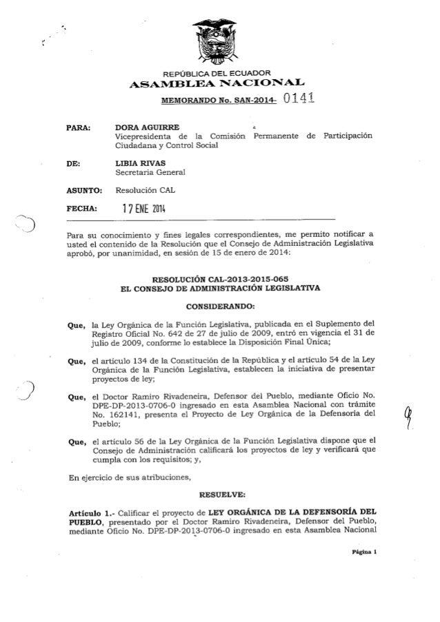 Proyecto de ley orgánica de la defensoría del pueblo
