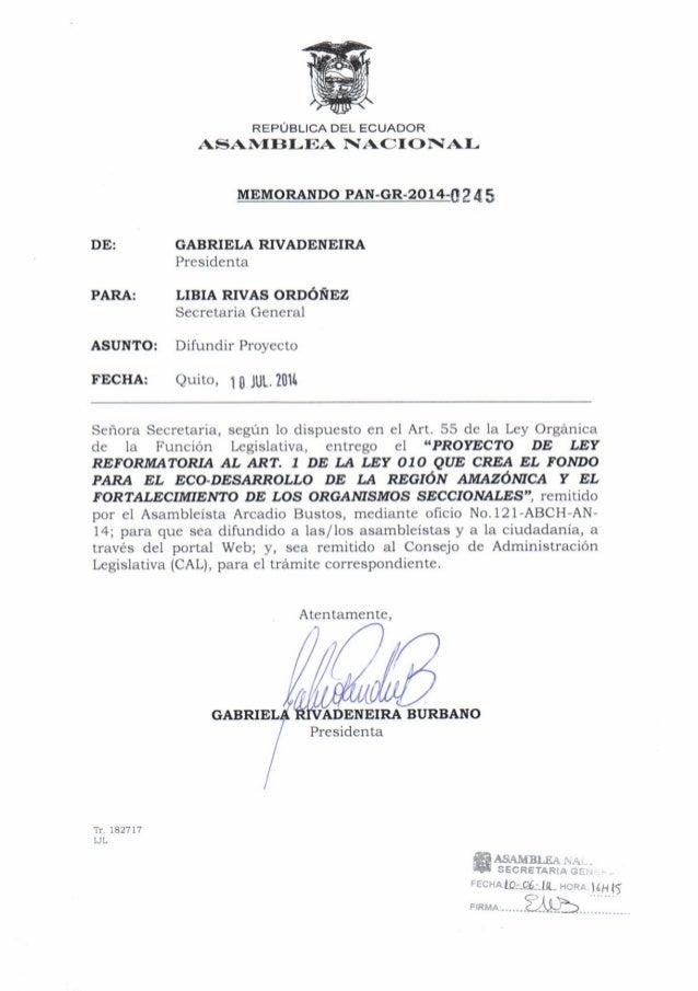 Proyecto de ley reformatoria al art. 1 de la ley 010 que crea el fondo para el eco desarrollo de la región amazónica y el ...