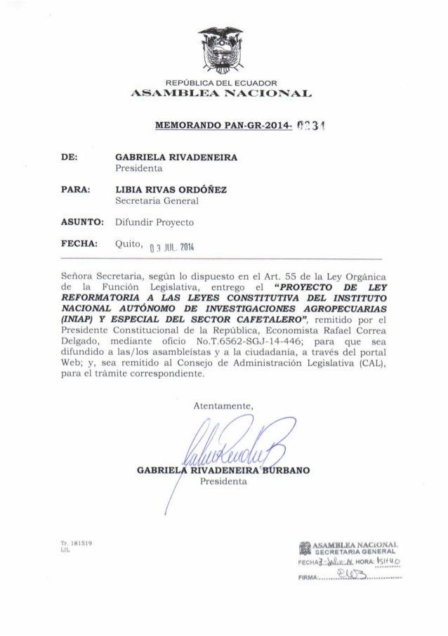 Proyecto de ley reformatoria a las leyes constitutiva del instituto nacional autónomo de investigaciones agropecuarias (in...