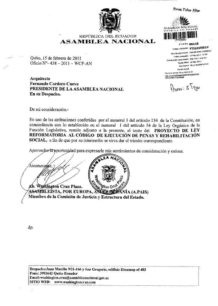 Proyecto de ley reformatoria al codigo de ejecucion de penas y rehabilitacion social