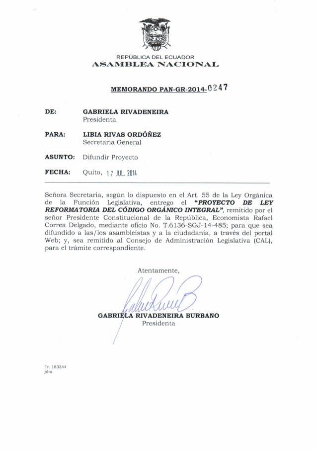 Proyecto de ley reformatoria del código orgánico integral penal(1)