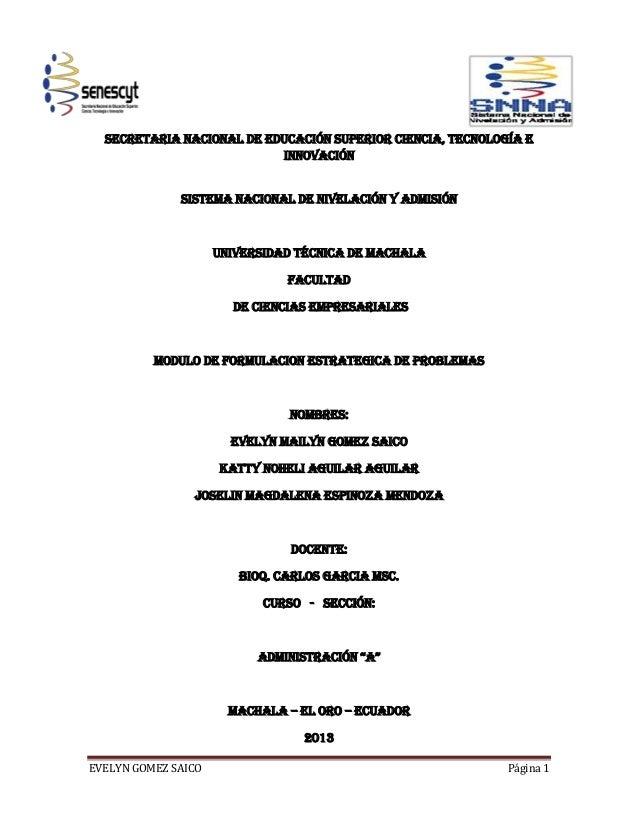 EVELYN GOMEZ SAICO Página 1SECRETARIA NACIONAL DE EDUCACIÓN SUPERIOR CIENCIA, TECNOLOGÍA EINNOVACIÓNSISTEMA NACIONAL DE NI...