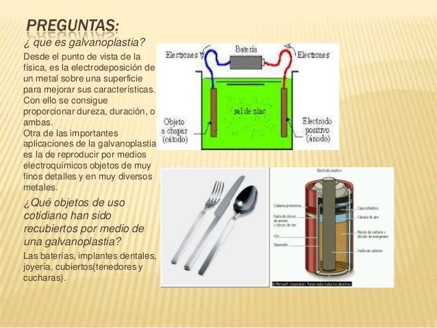 PREGUNTAS:¿ que es galvanoplastia?Desde el punto de vista de lafísica, es la electrodeposición deun metal sobre una superf...