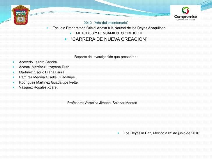 """2010  """"Año del bicentenario""""<br />Escuela Preparatoria Oficial Anexa a la Normal de los Reyes Acaquilpan<br />METODOS Y PE..."""