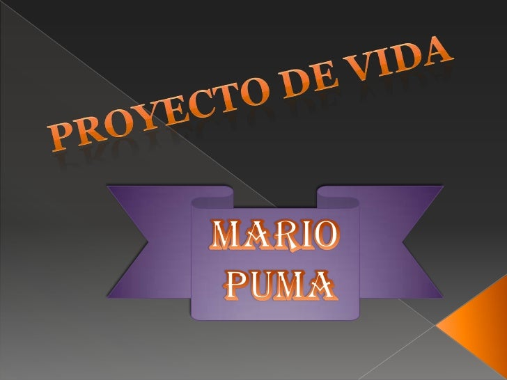 Proyecto de vida<br />MARIO<br /> PUMA<br />