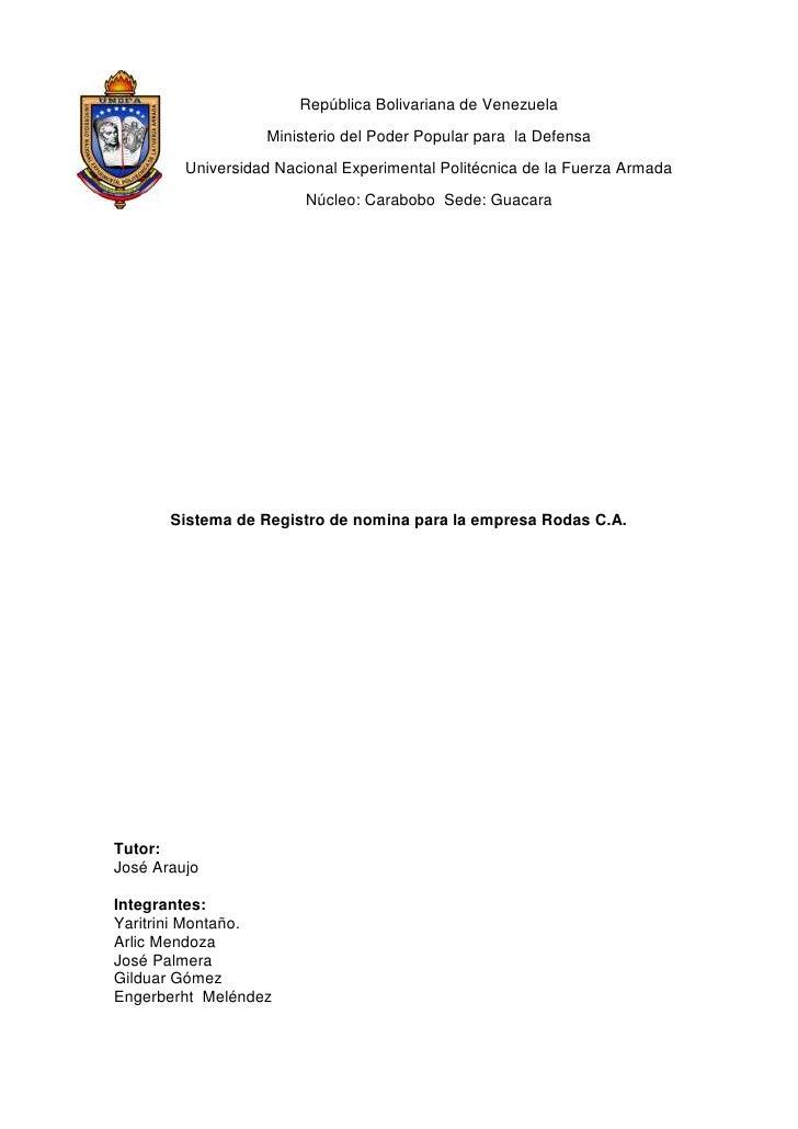 -342900-228600República Bolivariana de Venezuela<br />Ministerio del Poder Popular para  la Defensa<br />Universidad Nacio...