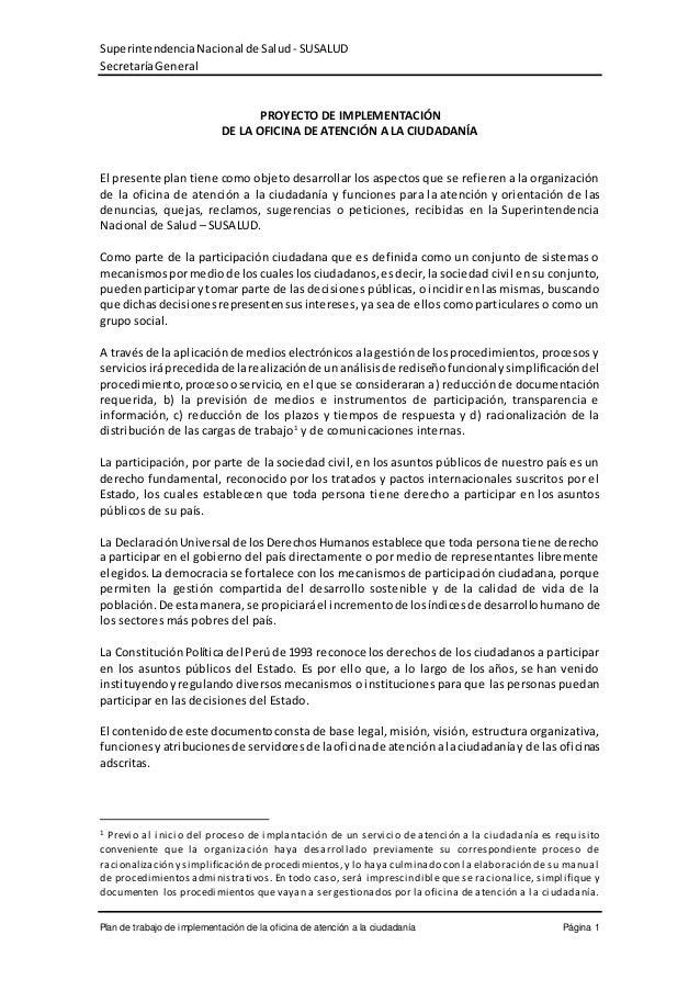 SuperintendenciaNacionalde Salud - SUSALUD SecretaríaGeneral Plan de trabajo de implementación de la oficina de atención a...