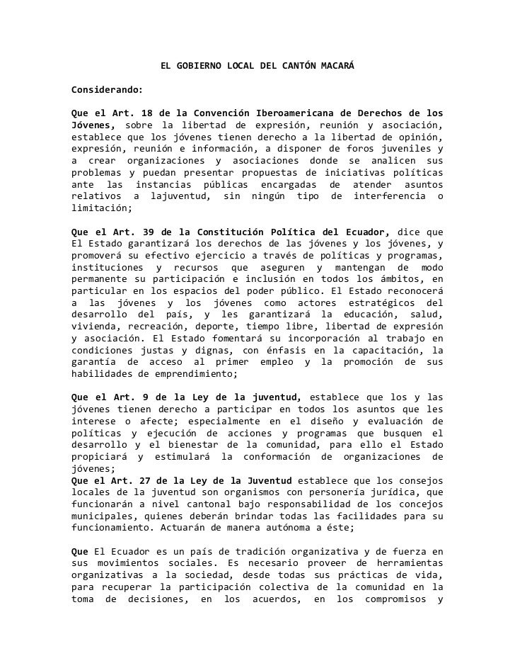 EL GOBIERNO LOCAL DEL CANTÓN MACARÁ<br />Considerando:<br />Que el Art. 18 de la Convención Iberoamericana de Derechos de ...