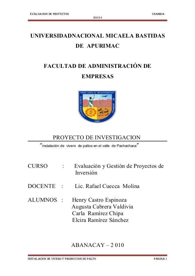 EVALUACION DE PROYECTOS                                             UNAMBA-                                         2010-I...