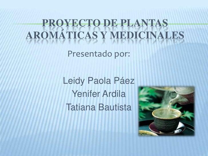PROYECTO DE PLANTASAROMÁTICAS Y MEDICINALES      Presentado por:     Leidy Paola Páez       Yenifer Ardila      Tatiana Ba...
