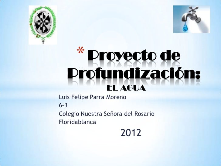 * Proyecto de  Profundización:                EL AGUALuis Felipe Parra Moreno6-3Colegio Nuestra Señora del RosarioFloridab...