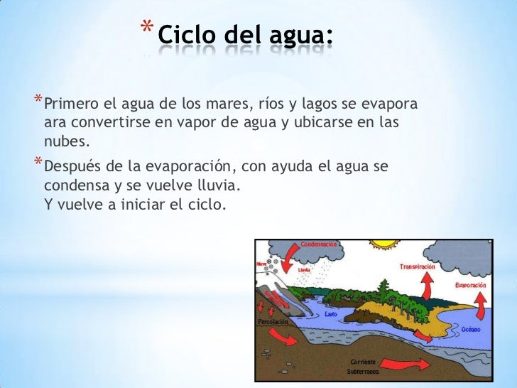 * Ciclo del agua:* Primero el agua de los mares, ríos y lagos se evapora ara convertirse en vapor de agua y ubicarse en la...