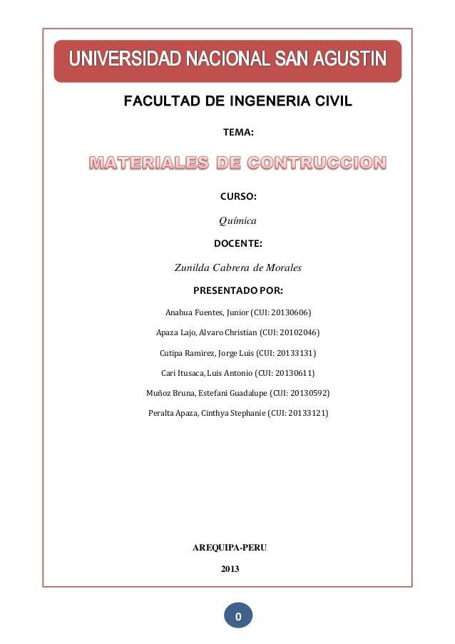 0 FACULTAD DE INGENERIA CIVIL TEMA: CURSO: Química DOCENTE: Zunilda Cabrera de Morales PRESENTADO POR: Anahua Fuentes, Jun...