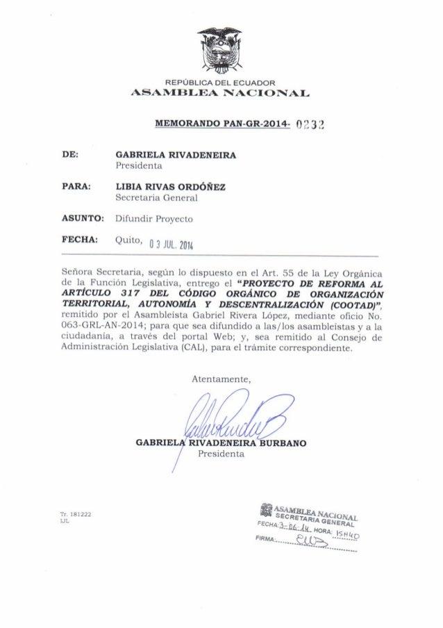 "Eyrcn T,rhat Sitw ltr,tw"" i:,4 u iii.L4 N11t. lLNit ASAMBLEANACIONAI"" Oficio No. 063-GRL-AN-2014 Quito D. M.,24 de junio d..."