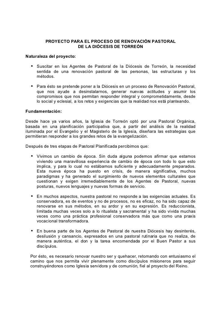PROCESO DE RENOVACIÓN PASTORAL        1                                                                          Diócesis ...
