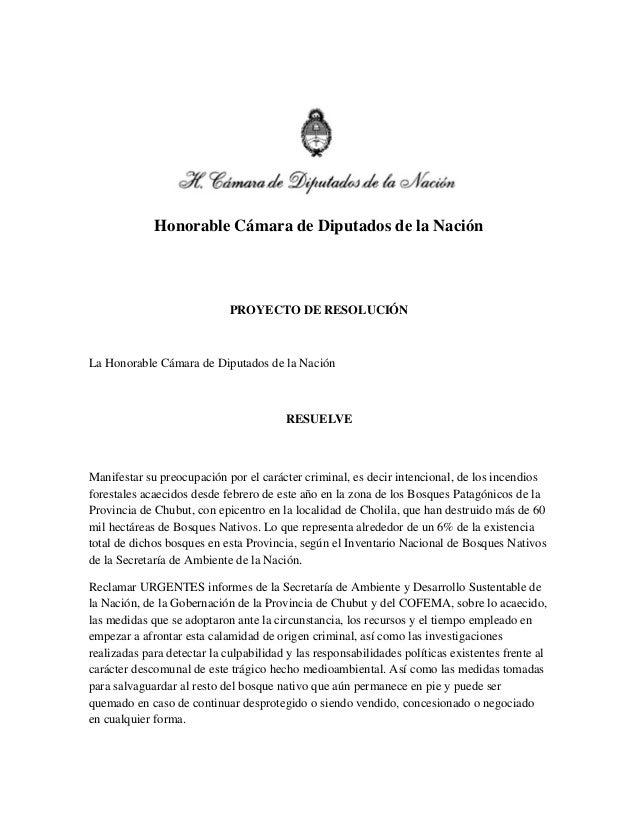 Honorable Cámara de Diputados de la Nación PROYECTO DE RESOLUCIÓN La Honorable Cámara de Diputados de la Nación RESUELVE M...