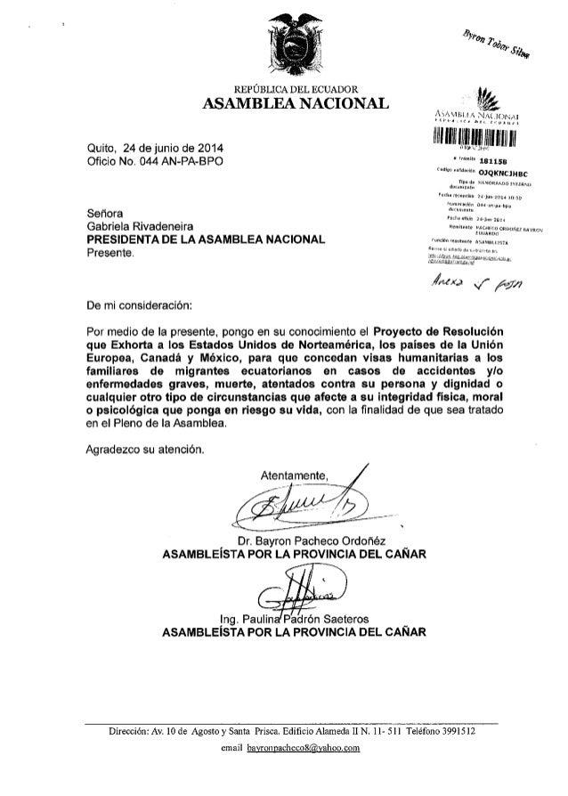 Quito, 24 de junio de 2014 Oficio No. 044 AN-PA-BPO Sefrora Gabriela Rivadeneira PRESIDENTA DE LA ASAMBLEA NACIONAL Presen...