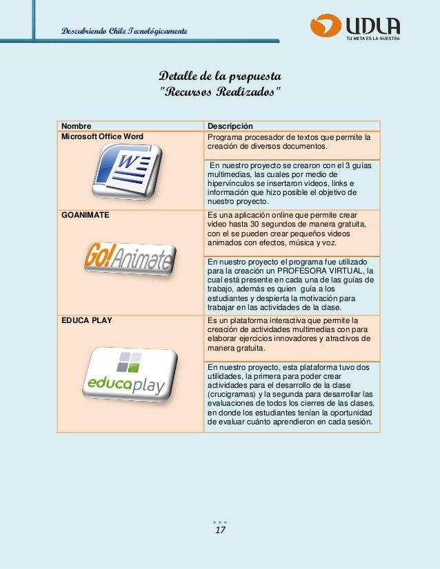"""Descubriendo Chile Tecnológicamente  17  Detalle de la propuesta  """"Recursos Realizados""""  Nombre  Descripción Microsoft Off..."""