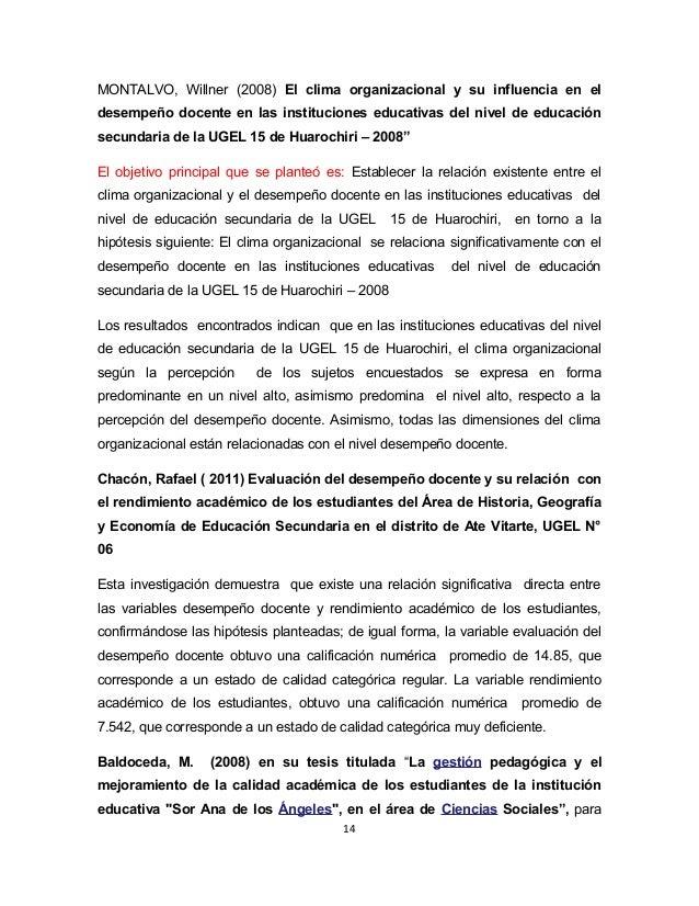 MONTALVO, Willner (2008) El clima organizacional y su influencia en el  desempeño docente en las instituciones educativas ...