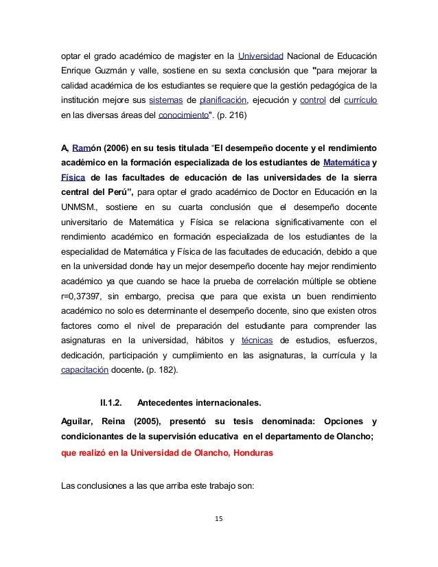 optar el grado académico de magister en la Universidad Nacional de Educación  Enrique Guzmán y valle, sostiene en su sexta...