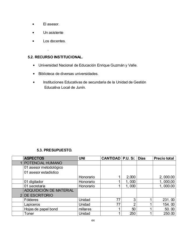 · El asesor.  · Un asistente  · Los docentes.  .  5.2. RECURSO INSTITUCIONAL.  · Universidad Nacional de Educación Enrique...
