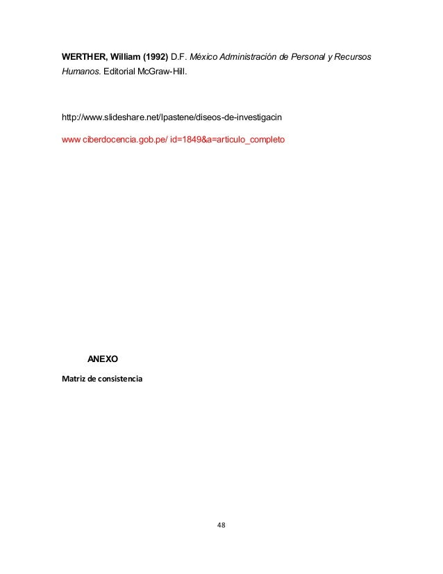 WERTHER, William (1992) D.F. México Administración de Personal y Recursos  Humanos. Editorial McGraw-Hill.  http://www.sli...