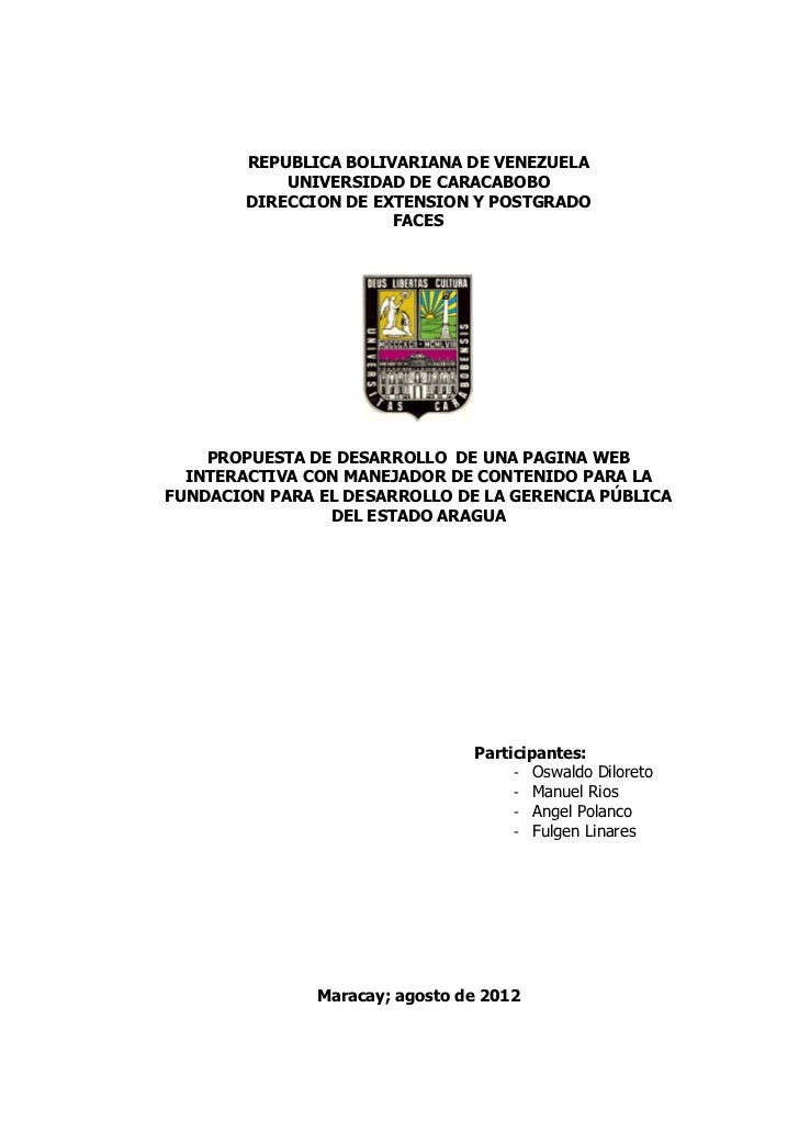 REPUBLICA BOLIVARIANA DE VENEZUELA            UNIVERSIDAD DE CARACABOBO        DIRECCION DE EXTENSION Y POSTGRADO         ...