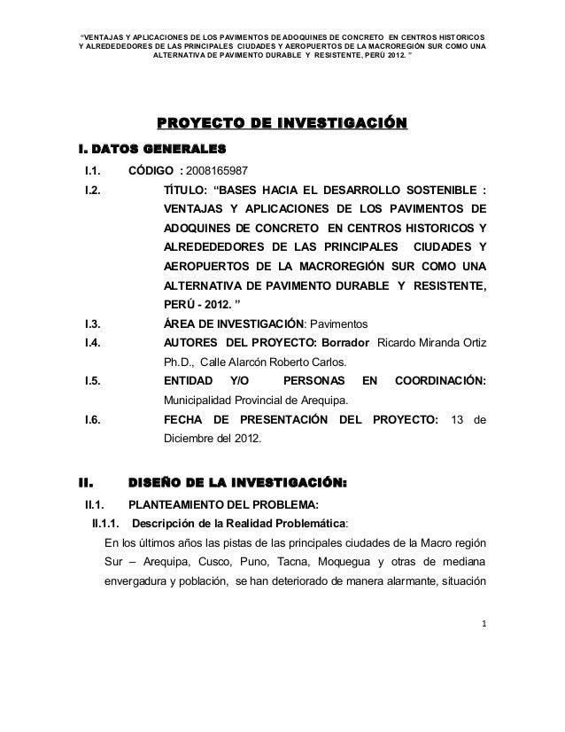 """""""VENTAJAS Y APLICACIONES DE LOS PAVIMENTOS DE ADOQUINES DE CONCRETO EN CENTROS HISTORICOSY ALREDEDEDORES DE LAS PRINCIPALE..."""