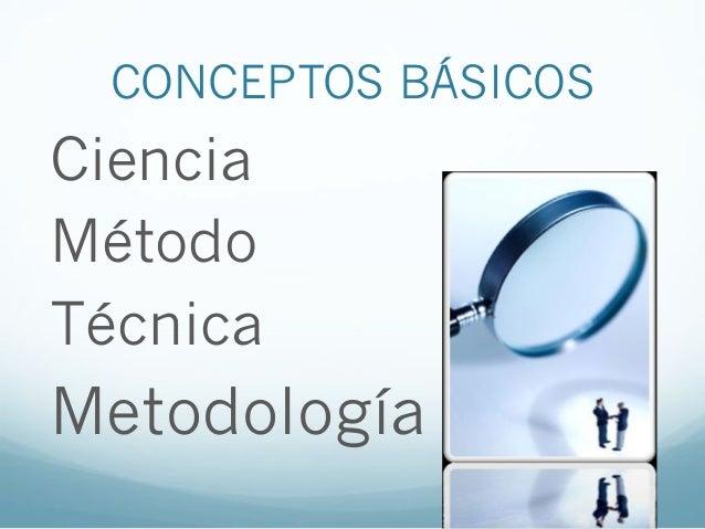 CONCEPTOS BÁSICOSCienciaMétodoTécnicaMetodología