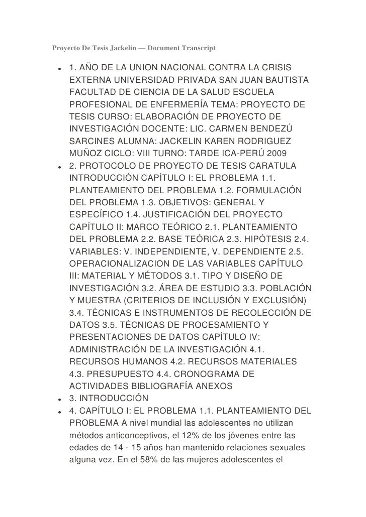 Proyecto De Tesis Jackelin — Document Transcript     1. AÑO DE LA UNION NACIONAL CONTRA LA CRISIS     EXTERNA UNIVERSIDAD ...