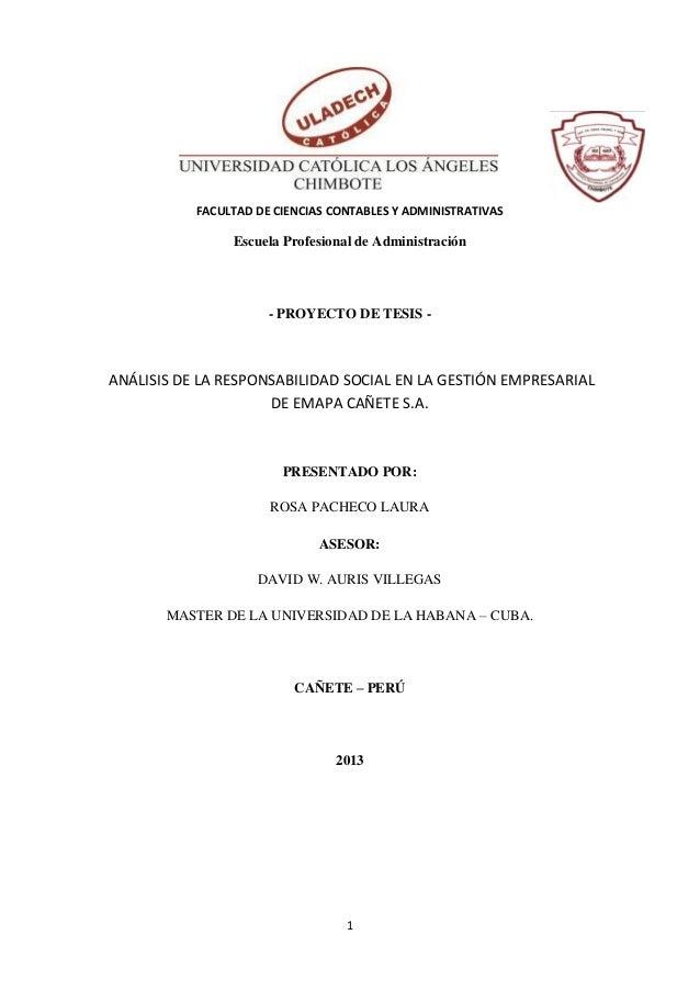 FACULTAD DE CIENCIAS CONTABLES Y ADMINISTRATIVAS  Escuela Profesional de Administración  - PROYECTO DE TESIS -  ANÁLISIS D...