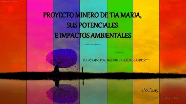 PROYECTO MINERO DE TIA MARIA, SUS POTENCIALES E IMPACTOS AMBIENTALES ELABORADO POR: NAAMIN CAHUANA CASTILLO 12/06/2015