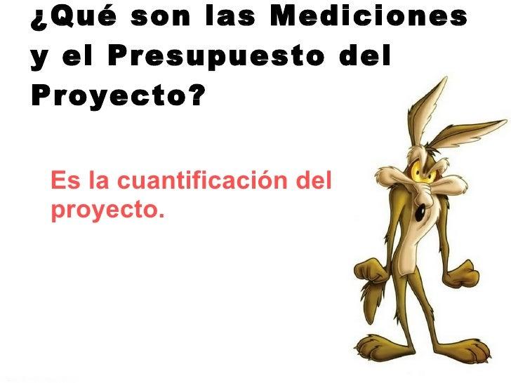 ¿Qué son las Mediciones y el Presupuesto del Proyecto? <ul><li>Es la cuantificación del proyecto. </li></ul>