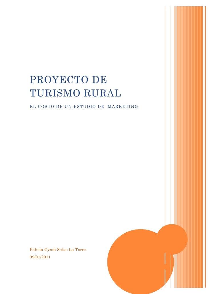 PROYECTO DE TURISMO RURAL EL COSTO DE UN ESTUDIO DE MARKETING     Pahola Cyndi Salas La Torre 09/01/2011