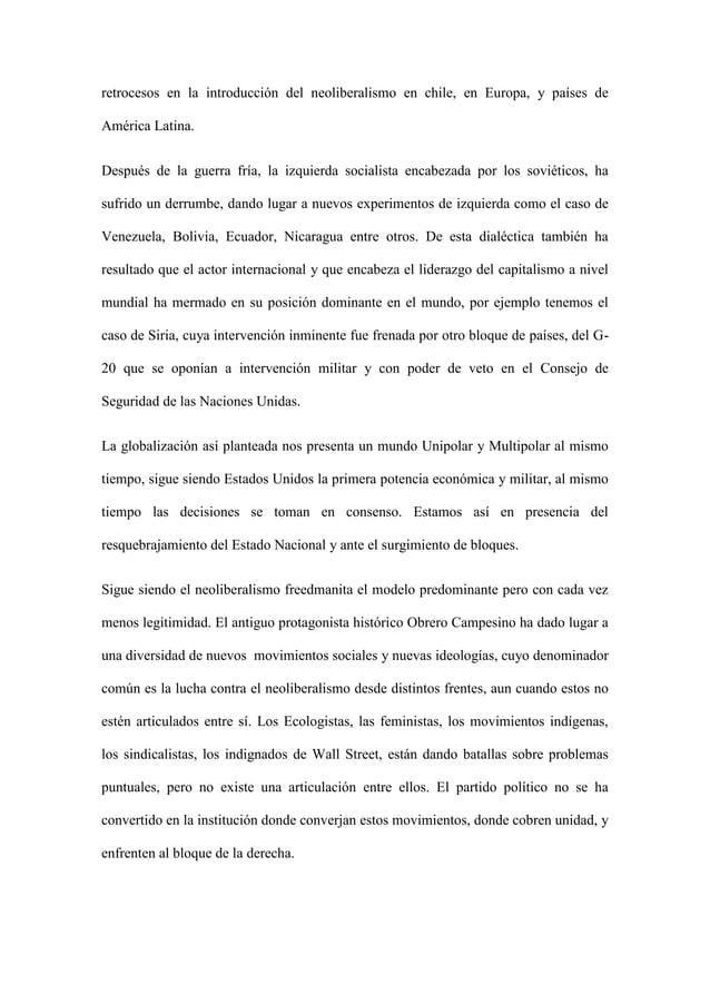 retrocesos en la introducción del neoliberalismo en chile, en Europa, y países de América Latina. Después de la guerra frí...