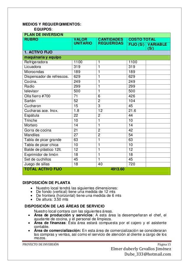 Planfiicacion de presupuesto de un restaurante for Proyecto cocina restaurante