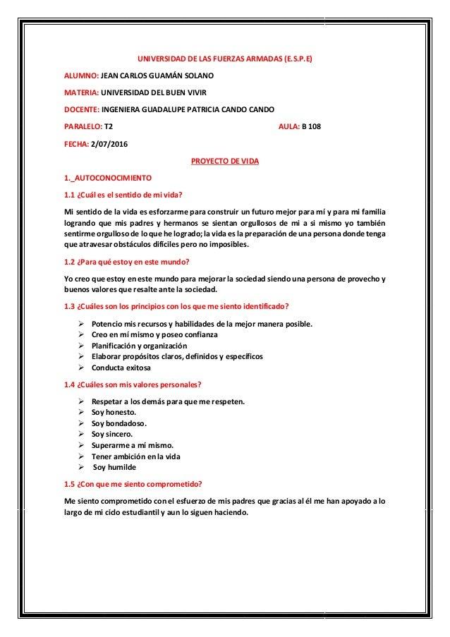 UNIVERSIDAD DE LAS FUERZAS ARMADAS (E.S.P.E) ALUMNO: JEAN CARLOS GUAMÁN SOLANO MATERIA: UNIVERSIDAD DEL BUEN VIVIR DOCENTE...