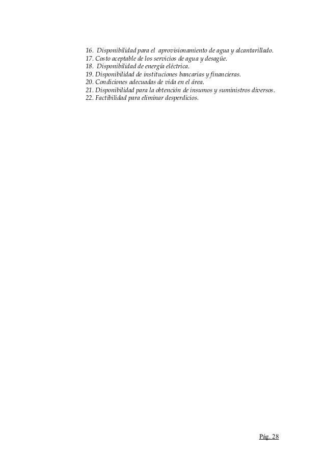 16. Disponibilidad para el aprovisionamiento de agua y alcantarillado.17. Costo aceptable de los servicios de agua y desag...