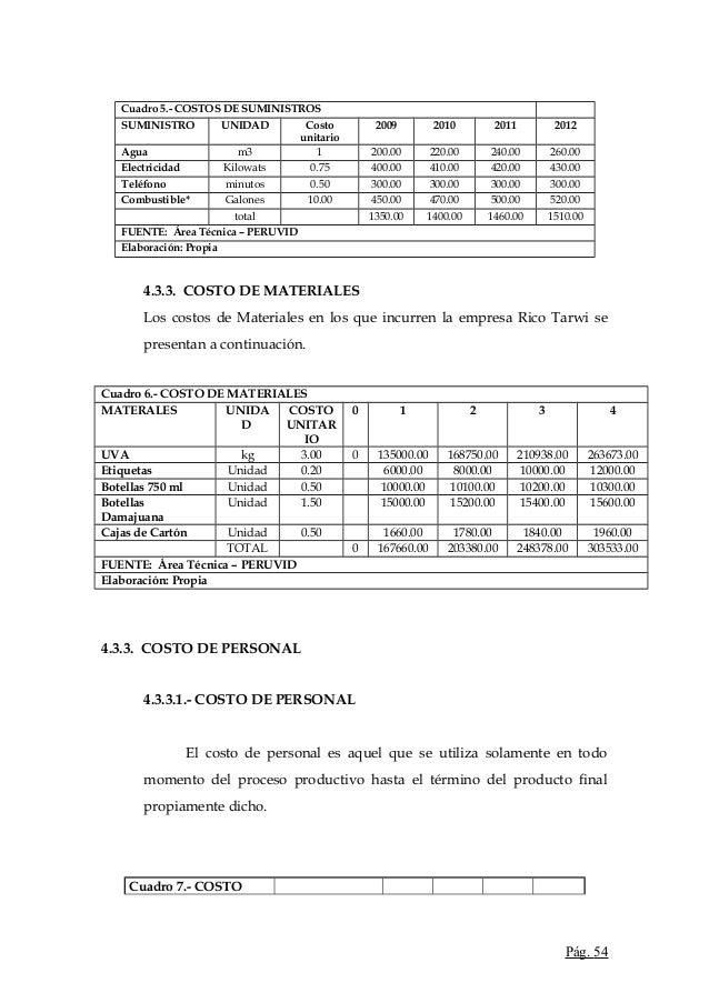 Cuadro 5.- COSTOS DE SUMINISTROSSUMINISTRO UNIDAD Costounitario2009 2010 2011 2012Agua m3 1 200.00 220.00 240.00 260.00Ele...