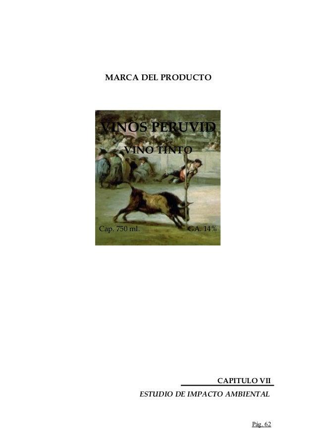 MARCA DEL PRODUCTOVINOS PERUVIDVINO TINTOCap. 750 ml. GA. 14%CAPITULO VIIESTUDIO DE IMPACTO AMBIENTALPág. 62