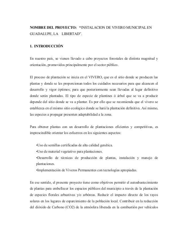 Proyecto de vivero guadalupe for Proyecto productivo de vivero forestal