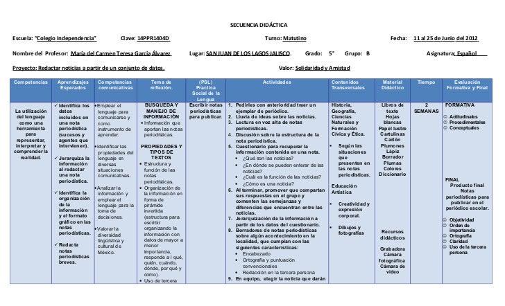 """SECUENCIA DIDÁCTICAEscuela: """"Colegio Independencia""""             Clave: 14PPR1404D                                         ..."""