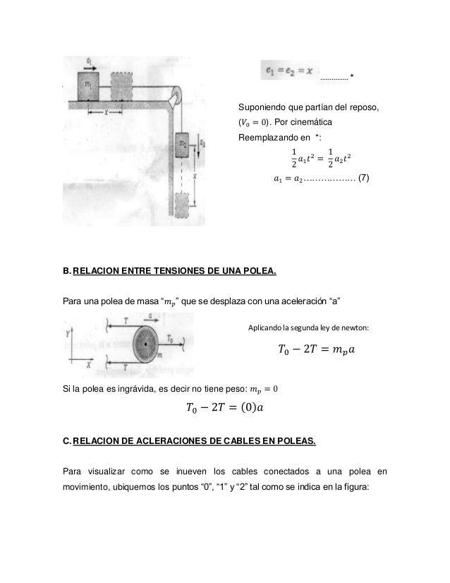 """B. RELACION ENTRE TENSIONES DE UNA POLEA. Para una polea de masa """" """" que se desplaza con una aceleración """"a"""" Si la polea e..."""