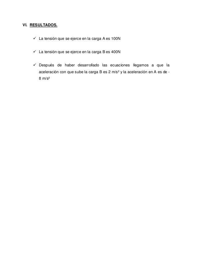 VI. RESULTADOS.  La tensión que se ejerce en la carga A es 100N  La tensión que se ejerce en la carga B es 400N  Despué...
