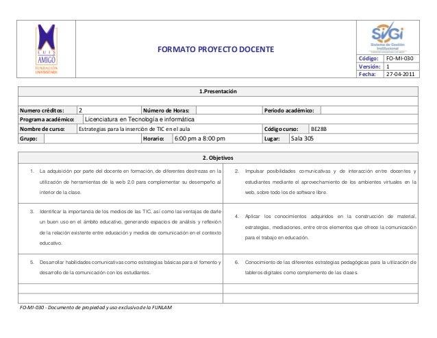 FO-MI-030 - Documento de propiedad y uso exclusivo de la FUNLAMFORMATO PROYECTO DOCENTECódigo: FO-MI-030Versión: 1Fecha: 2...