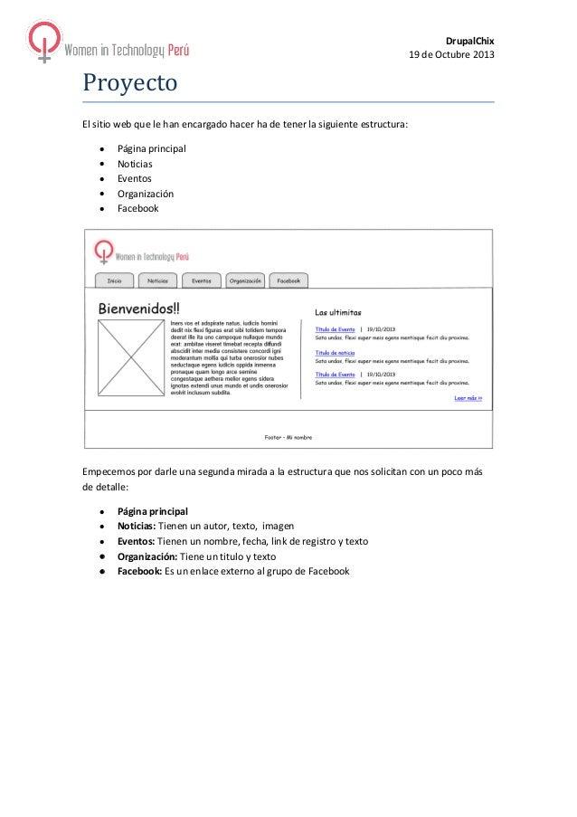 DrupalChix 19 de Octubre 2013  Proyecto El sitio web que le han encargado hacer ha de tener la siguiente estructura: • • •...