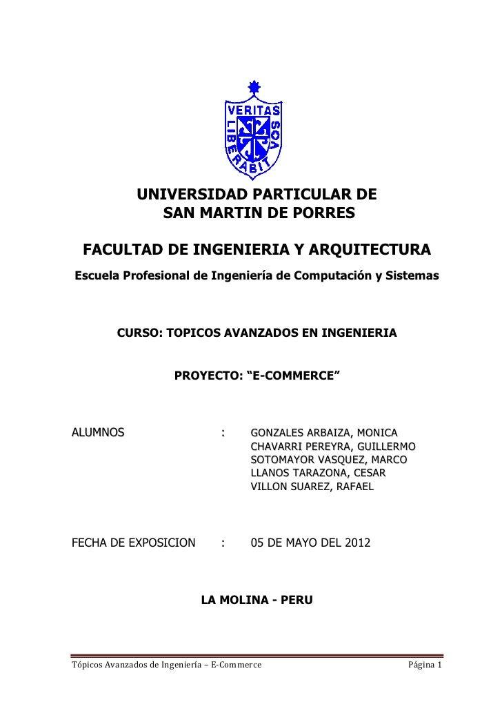 UNIVERSIDAD PARTICULAR DE                 SAN MARTIN DE PORRES  FACULTAD DE INGENIERIA Y ARQUITECTURAEscuela Profesional d...