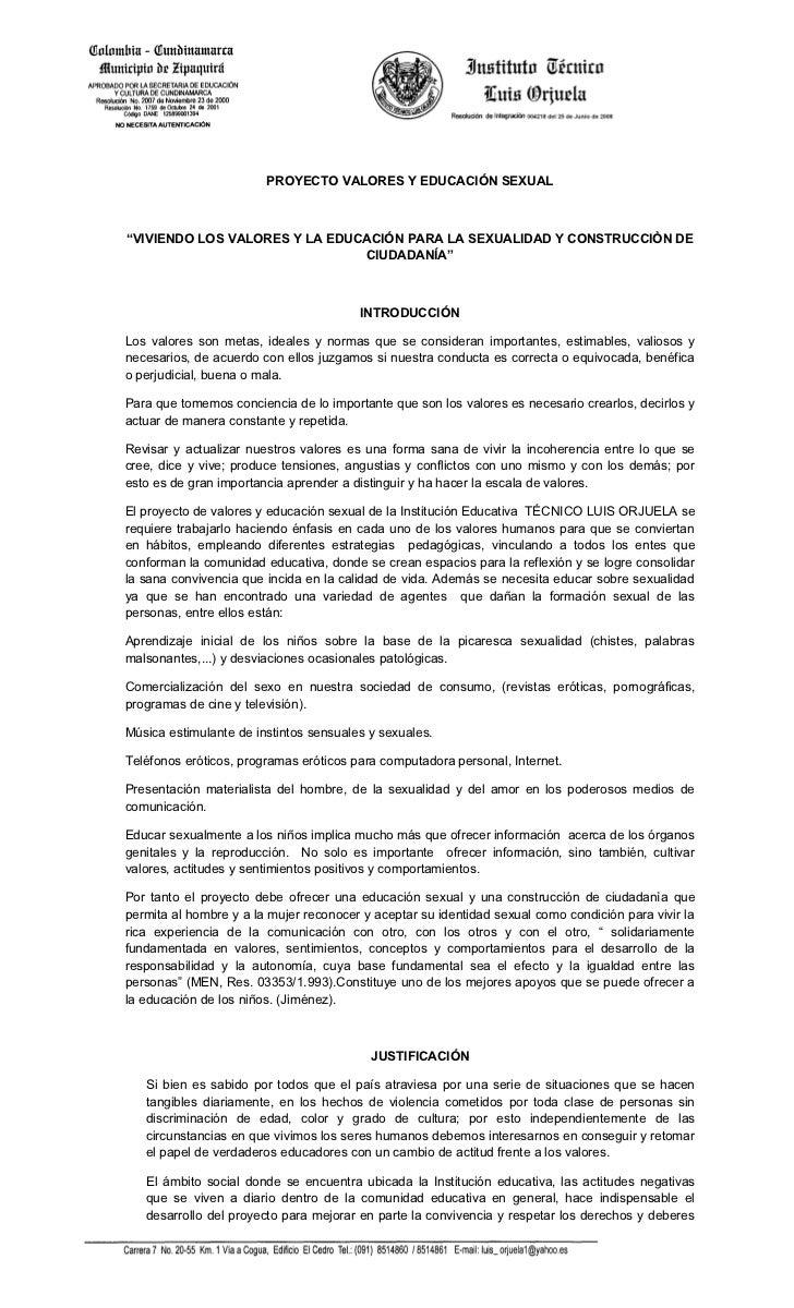 """PROYECTO VALORES Y EDUCACIÓN SEXUAL""""VIVIENDO LOS VALORES Y LA EDUCACIÓN PARA LA SEXUALIDAD Y CONSTRUCCIÒN DE              ..."""