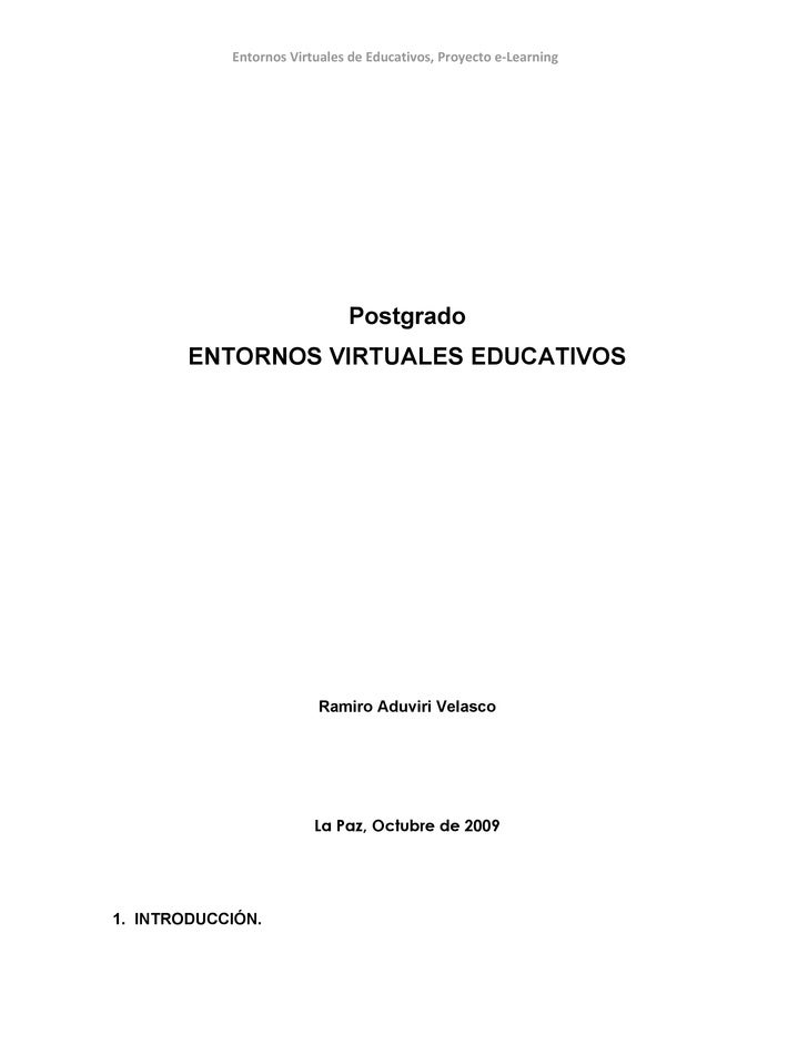 Entornos Virtuales de Educativos, Proyecto e-Learning                                   Postgrado         ENTORNOS VIRTUAL...